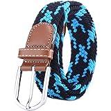 BOZEVON Elastic Woven Belt - Multi-colours Elasticated Braided Stretch Fabric Belt For Men Women
