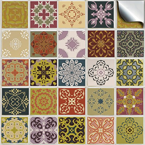 24 stück Fliesenaufkleber für Küche und Bad (Tile Style Decals 24x TP 51 - 4') | verschiedene Mosaik wandfliesen aufkleber für 10x10cm Fliesen | Deko Fliesenfolie für Küche u. Bad (10cm - 24 Stück, TP 51)