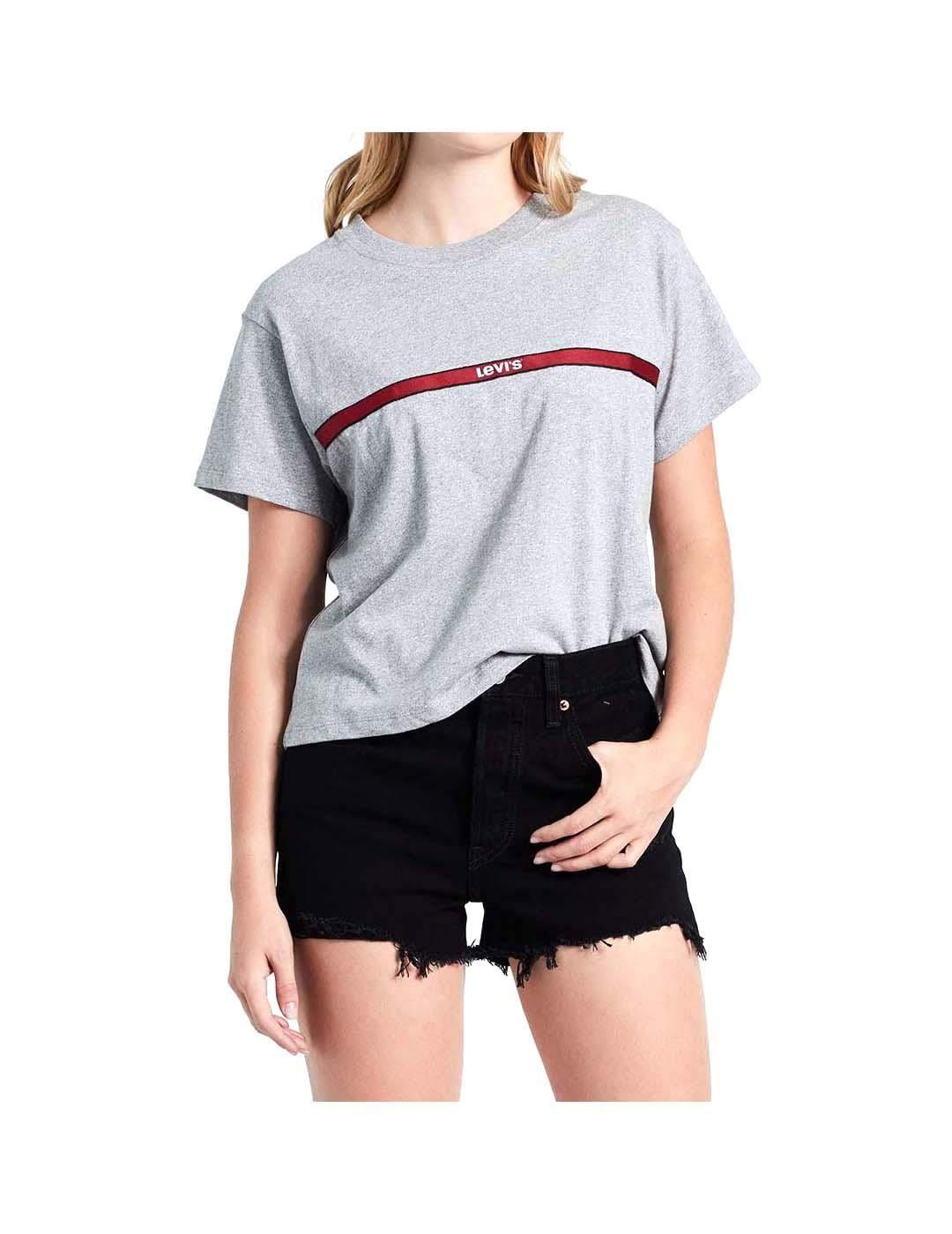 Camiseta Levis Graphic Varsity Text Gris Mujer