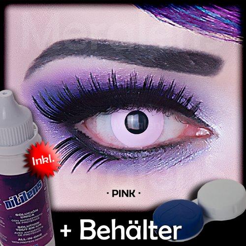 Meralens A0258 Pink Kontaktlinsen mit Pflegemittel mit Behälter ohne Stärke, 1er Pack (1 x 2 (Halloween Barbie 60 Kostüm)