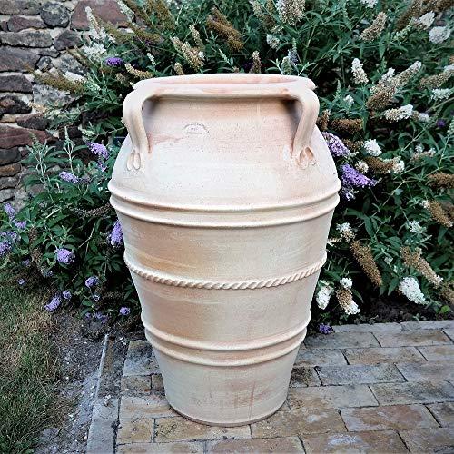 Kreta-Keramik frostfeste hochwertige Amphore mit Henkeln, 80 cm handgefertigt aus echtem Terracotta für den Außenbereich, Datura