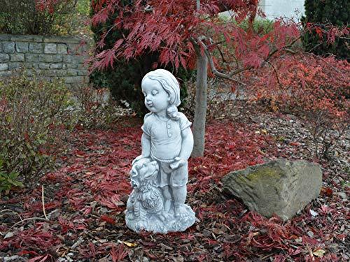 gartendekoparadies.de Massive Steinfigur Mädchen mit Hund Kinderfigur aus Steinguss frostfest