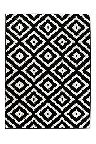 Tapiso Alfombra De Salón Moderna Colección Marroquí – Color Negro Blanco De Diseño Geométrico Enrejado – Mejor Calidad – Diferentes Dimensiones S-XXXL 200 x 290 cm