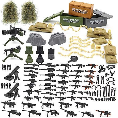 Feleph Military Army Waffen und Zubehör Set, Custom Figures Militärblock Spielzeug Moderne Waffen Pack Zubehör Set Kompatibel Große Marken, Militär Bausteine Spielzeug für Kinder Jungen (C)