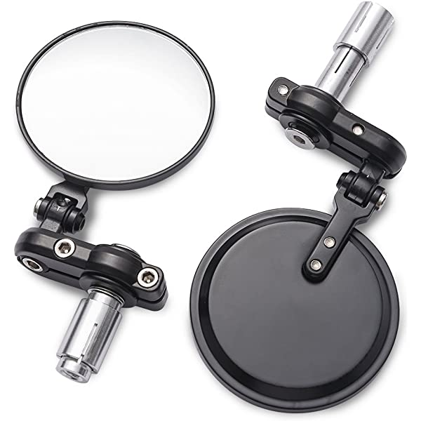Pair Of Round Fold In Motorcycle Motorbike Mirrors For 22mm 7//8 Handlebars