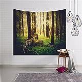 HANSHI Grüner Wald Wandteppich aus leichtem Polyster Wandtuch Wandbehang Wand Dekoration Tischdecke Strandtuch Schöne Wanddeko Spezielles Gefühl bringen HYC10(7#)