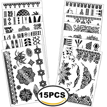 Outee 15 Sheets Black Temporary Tattoos Fake Jewelry Tattoos Henna Temporary Tattoos Temporary Flash Tattoos For Adults & Kids 2