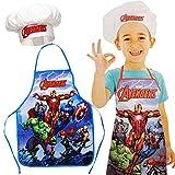 Unbekannt 2 TLG. Set: Kinderschürze + Kochmütze -  The Avengers  - Größenverstellbar - fleckabweisend - Schürze / Jungen - beschichtet - Kochschürze / Grillschürze - ..