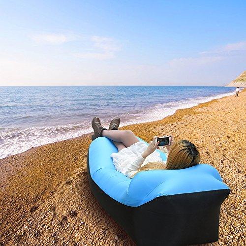 iRegro wasserdichtes aufblasbares Sofa mit integriertem Kissen, tragbarer aufblasbarer Sitzsack, Aufblasbare Couch, aufblasbares Outdoor-Sofa für Camping, Park, Strand, Hinterhof (blauschwarz) - 7
