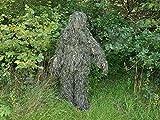 Traje ghillie / traje de camuflaje con trapo de camuflaje (red de camuflaje) de talla universal / 3 piezas / Con bolsillos de paso
