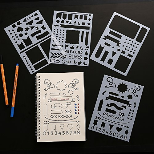 Bullet Tagebuch Schablone Set-Banner, Trennwänden, & Symbole passt Leuchtturm & Moleskine A5Notebooks, Best verwendet mit huhuhero Fineliner & Sakura Micron Stifte -