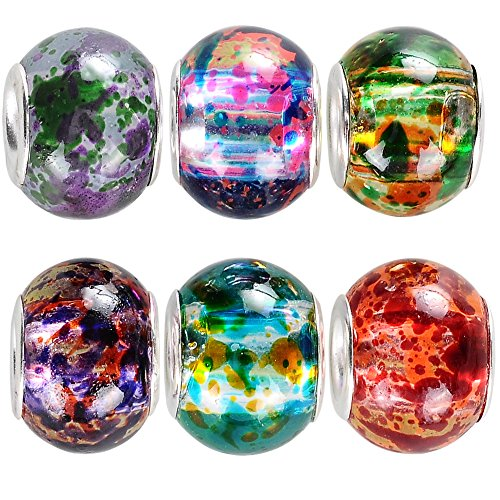rubyca Bulk Abstrakt Murano Glasperlen Fit europäischen Charme Armband für DIY Schmuckherstellung, glas, Paint Splatter Glass, 30PCS