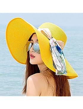 Ktfactory Señoras sol de verano Sombrero de Paja plegable disquetes grandes ala ancha playa Cap D AMARILLO