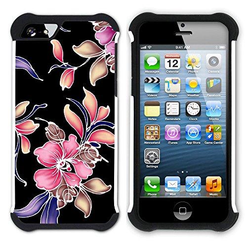 Graphic4You Blume Blumen- Muster Hart + Weiche Kratzfeste Hülle Case Schale Tasche Schutzhülle für Apple iPhone SE / 5 / 5S Design #19