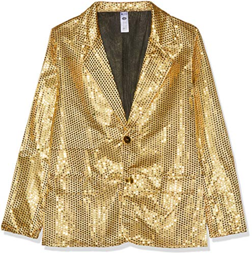 Smiffys Herren Pailletten Jacke, Größe: L, Gold, 21163