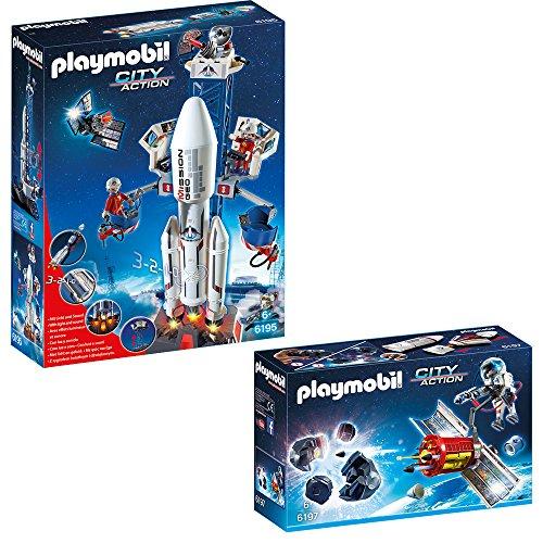 Preisvergleich Produktbild PLAYMOBIL® City Action Weltraum 2-tlg. Set 6195 6197 Weltraumrakete mit Basisstation + Meteoroiden-Zerstörer