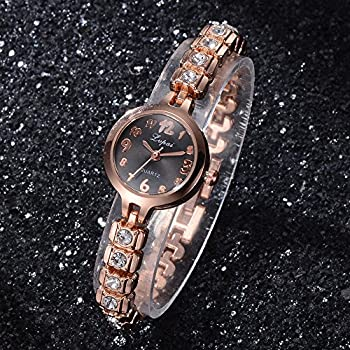 Womens Quartz Watches,ulanda-eu Lvpai Analog Clearance Lady Wrist Watch Female Watches On Sale Watches For Women,round Dial Case Comfortable Stainless Steel Wristwatch M77 (Gold & Black) 2