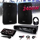 PACK SONO 2400W DJ PA Set BAR CLUB DISCO15B + Ampli AX1000 MyDj + Table de Mixage USB MP3 + Micro Casque Câbles