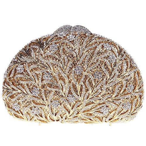Damen Clutch Abendtasche Handtasche Geldbörse Glitzertasche Strass Kristall Blume Laub Schloss Tasche mit wechselbare Trageketten von Santimon(4 Kolorit) Gold