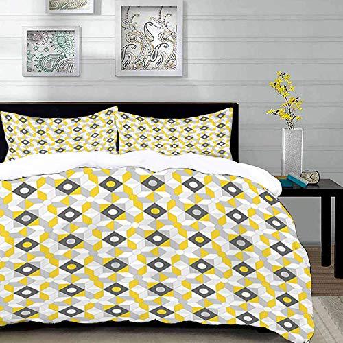 Yaoni Bettwäsche-Set, Mikrofaser,Grau und Gelb, geometrische Retro 60er Jahre 70er Jahre Home inspiriert Runden Quadrate Bild, Multicolor, 1 Bettbezug 220 x 240cm + 2 Kopfkissenbezug 80x80cm