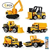 Play Vehicles, Gimilife 6 Set Toy Construction Vehicles, Assorted Trucks Mini Car Toy, Friction Powered Push & Play Engineering Vehicles For Age 3 Years And Up Boys And Girls As Gift