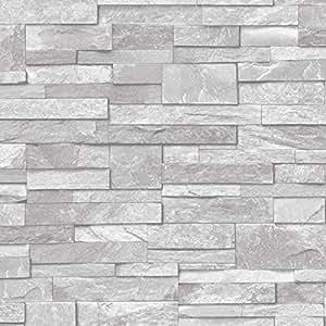 Ardesia effetto mattoni in pietra carta da parati in for Carta adesiva effetto mattoni