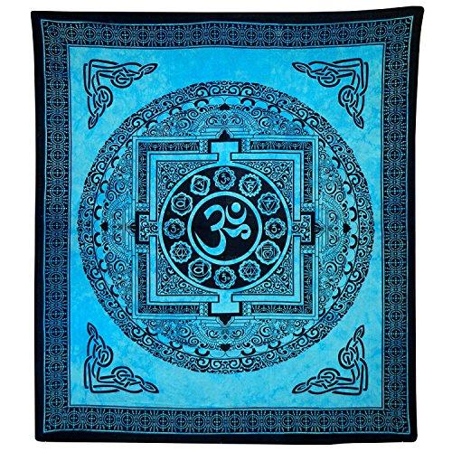 Tagesdecke Om Mandala türkis Baumwolle Wandbehang Dekoration (Om Tagesdecke)