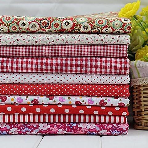 Paquet de s¨¦rie 10 Assorted Pre-Cut Fat Quarters Bundle Cotton Fabri Patchwork Red 45x45cm