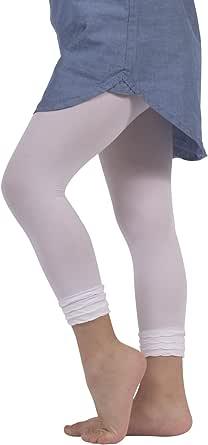 CALZITALY Leggings Bambina in Microfibra | Pantacollant Bimba con Balze sulla Caviglia | Leggings Eleganti con Volant | 50 Den | Rosa, Nero, Bianco | 4/6 8/10 | Made in Italy
