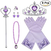 Vicloon 8pcs Princesse Dress Up Accessoires Filles Diadème Varita Magie Collier Boucles d'oreilles Anneau Gants pour…