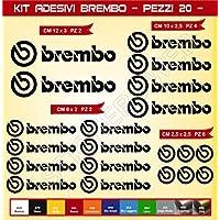 KIT ADESIVI STICKERS Brembo -20 pezzi- -SCEGLI COLORE- moto motorbike Cod.0576 (Nero cod. 070)