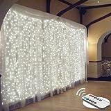 Luz de cortina impermeable de 300 LED, 3 mx 3 m, luces de cadena de Navidad de color blanco cálido con 8 modos de control rem