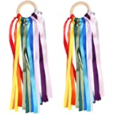 2 Pack of Colorful Ribbon Baby Chewing Teether Natural Wooden Baby Shower Sensory Toy