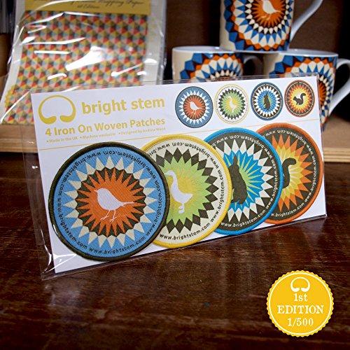4 Bright Stem Vintage Aufbügler/Sew On Patches Auf Gewebt Aufnäher, Eichhörnchen, Gans, Vogel und Hase. -