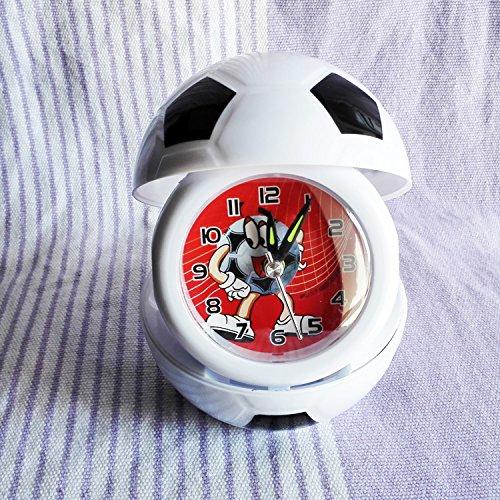 LTOOD Eine moderne, minimalistische Mode neue kreative Persönlichkeit Faltung tragbare Uhr Cartoon Kinder Fußball Student Basketball Nachtmodus der Uhr Wecker, Schwarz (Jugend-fußball-uhr)
