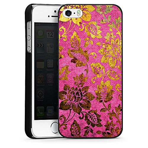 Apple iPhone 6 Plus Housse étui coque protection Rétro couleurs Fleurs CasDur noir
