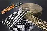 15m Titan Hitzeschutzband 25mm 1400°C + 10 Kabelbinder SCHLAUCHLAND*** Auspuffband Thermoband Krümmerband Heat Wrap Basaltfaser Isolierband Hitzeschutz