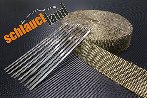 15m Titan Hitzeschutzband 50mm 1400°C + 10 Kabelbinder SCHLAUCHLAND*** Auspuffband Thermoband Krümmerband Heat Wrap Basaltfaser Isolierband Hitzeschutz