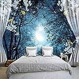 Personalizzato Fotomurale 3D Finestra Notte Foresta Luna Fiore Uccello Natura Paesaggio Foto Wallpaper Soggiorno Camera Da Letto Decorazione Della Parete 200x140cm