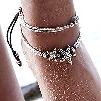 Bohend Vintage Stratificato Cavigliera Bracciale Argento stella marina Perlina Regolabile Multistrato Caviglia Bracciali…