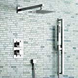 "iBathUK Mixer Shower Set Thermostatic Valve with Riser Rail 16"" Head + Hand Held SS2027"