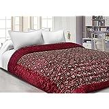 Amer Handicraft Double Bed Size Jaipuri Silk AC Quilt Razai Blanket, Dohar With Gold Prints Printed Double Bed Quilt/Comforter/AC Quilt/AC Comforter/Razai, Winter Quilt, Jaipuri Razai