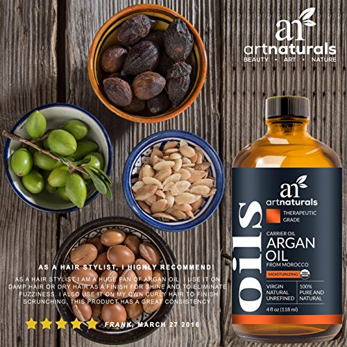 Art Naturals Organic Argan Oil for Hair, Face & Skin 120 ml – 100% Pure Grade A Triple Extra Virgin Cold Pressed From The kernels of the Moroccan Argan Tree – The Anti Aging, Anti Wrinkle Beauty Secret