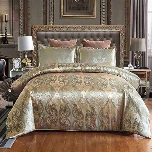 XLLJA Bettbezug 2 Kissenbezüge,Satin Jacquard Bettwäsche Paket Bettbezug für Kinder und Erwachsene Schlafzimmer, Single, Double, Queen, Extra Large @ Gold_228 * 228cm (3 Stück)