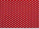 Viskose Mousseline, kleine Punkte, weiß auf rot, 142cm