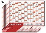 10 STÜCK - Schuljahres - Wandkalender 2016-2017 DIN A1 rot (gerollt) - Wandplaner 2016-2017 mit Ferienübersicht für alle Bundesländer (Versand sehr günstig!)