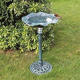 MP Essentials Outdoor Garden ciotola & stand per uccelli, con luce solare