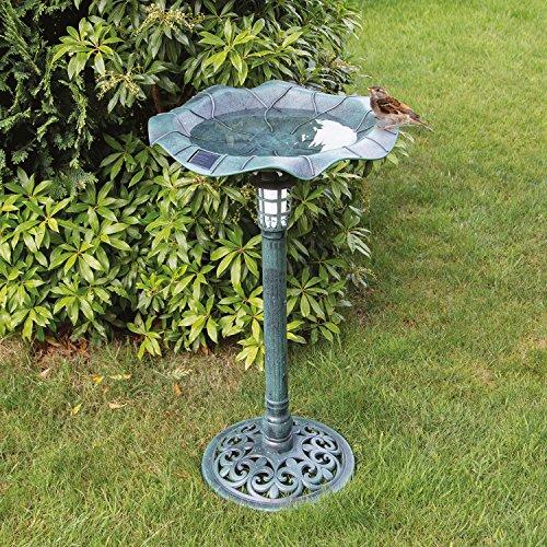 GardenKraft 17430 Metal Effect Bird Bath with Solar Light, Green