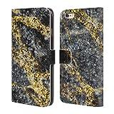 Head Case Designs Offizielle PLdesign Glitzerndes Gold Felsen Gewebe Und Funkel Brieftasche Handyhülle aus Leder für iPhone 6 Plus/iPhone 6s Plus