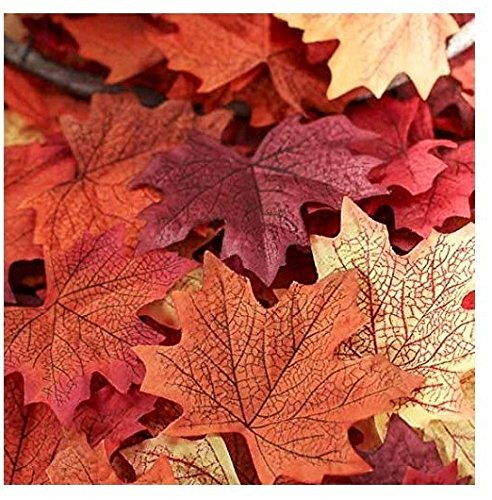Wady 100Pcs Assorted Artificial Fall Coloured Silk Maple Leaves Table Scatters For Fall Weddings & Autumn Parties